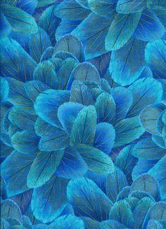 Blue Humming Bird Feathers - Timeless Treasures - Half  Yard