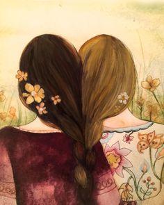Mejores amigos de arte impresión hermanas regalo idea con trenzas de pelo rubio y marrón entrelazado