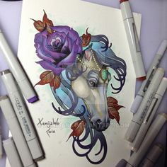 horse with rose by Xenija88 on DeviantArt
