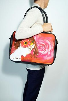 Print Canvas Messenger Bag Women Eco Leather Briefcase 15 inch Laptop  – edocollection