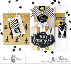 Wrap it with Black & White (and Gold) by Kim Watson usig the Me-ology collection, Kraft & Glassine bags, and Chalk tags and labels by FancyPantsDesigns.com
