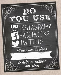 Printable PDF digital print your own DIY Wedding Photo Booth Chalkboard Instagram Facebook Twitter Hashtag Poster Signs by Hip Hip Hooray