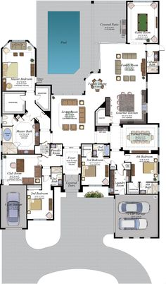 Belvedere Floorplan Make apt from club room, bed garage. Change outsid… Belvedere Floorplan Make apt from club room, bed garage. Change outside. Sims House Plans, House Layout Plans, Family House Plans, New House Plans, Dream House Plans, Modern House Plans, House Layouts, House Floor Plans, House Plans With Pool