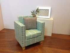 Light Blue/White Chair Dollhouse furniture by ItsPerfectlyPetite