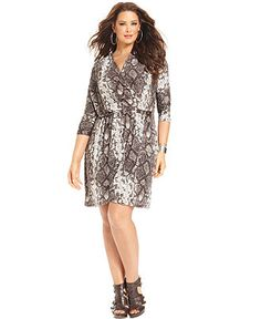 MICHAEL Michael Kors Plus Size Dress, Three-Quarter-Sleeve Printed Faux Wrap