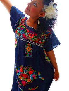 Loving these Mexican Embroidered Dresses from Etsy