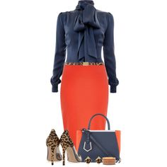 A fashion look from September 2014 featuring long sleeve shirts, red pencil skirts and pvc pump. Browse and shop related looks. Future Fashion, I Love Fashion, Work Fashion, Chic Outfits, Fashion Outfits, Orange Skirt, Professional Outfits, Business Outfits, Work Attire