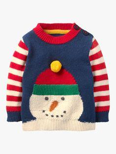 408e9e9f505b BuyMini Boden Baby Fun Striped Knitted Jumper, Beacon Blue Snowman, 0-3  months