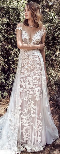 galia lahav gala 4 2018 bridal cap sleeves off the shoulder deep plungng sweetheart neck full embellishment elegant soft a  line wedding dress open back chapel train (901) lv