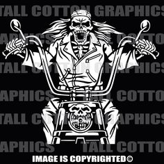 BIKER SKELETON on MOTORCYCLE Vinyl Decal - #SKL116