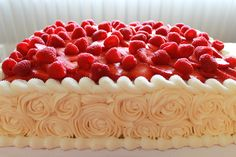 triple-layer half sheet rose cake with fruit (strawberries & raspberries) on top Strawberry Birthday Cake, Strawberry Cakes, Cake Icing, Buttercream Cake, Frosting, Wedding Sheet Cakes, Wedding Cake, Baking Cupcakes, Cupcake Cakes