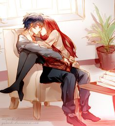 ✮ ANIME ART ✮ anime couple. . .romantic. . .love. . .sweet. . .cuddle. . .sitting on lap. . .almost kissing. . .cute. . .kawaii