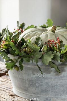 Autumn pumpkin decoration galvanized tub - wreath of oak leaves, berries, acorns and chestnuts.