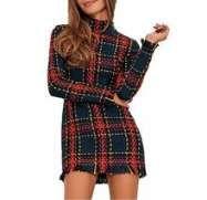 Chic Striped Plaid Women Winter Office Wear Warm Bodycon Dress Tassel women's winter dresses from top store Warm Dresses, Winter Dresses, Mini Dresses, Robes Vintage, Vintage Dresses, Maxi Robes, Fashion Night, Plaid Dress, Skinny