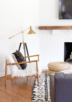 rustic modern before & after. Wood white and faux fur in this modern rustic living room makeover // sarah sherman samuel. House Design, Home And Living, Modern Rustic Living Room, Interior Design, Home Living Room, Modern Farmhouse Living Room Decor, Home, Interior, Living Decor