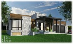 855 - Le Tilia Bungalow Plain pied | Plans Design Dream House Plans, Modern House Plans, Plan Chalet, Country Modern Home, Modern Bungalow House, House Layouts, Types Of Houses, Plan Design, Cottage Homes