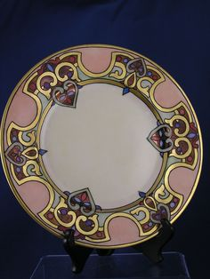 "Hutschenreuther Bavaria Art Nouveau plate (signed ""A. Hering"" c.1920-1945)"