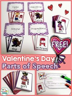 Feel the love this February with these adorable Valentine's Day Parts of Speech Cards! This set is for you if you are looking for a cute product to help your students. 2nd Grade Activities, Speech Therapy Activities, Language Activities, Writing Activities, My Sweet Valentine, Happy Valentines Day, Valentines Day Activities, Holiday Activities, Parts Of Speech Practice