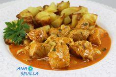 Solomillo de pavo o pollo adobado en salsa Ana Sevilla cocina tradicional