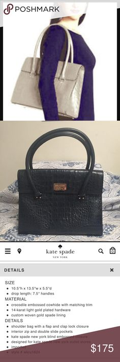 💋KATE SPADE💋ORCHARD VALLEY SINCLAIR CROC SATCHEL This a beautiful new with tags Kate Spade bag. This bag is no longer being made and it's so much prettier in person it's in slate dark blue color. I couldn't find a picture of anyone carrying this color because it's a rare color. It's so classy and large a perfect anything bag. It's clasp is gold plated it's amazing. The retail is 495.00 but I'm going to sell at a great price. Trade value is higher. ☺️ thanks for looking kate spade Bags