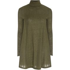 Khaki Rib Jersey Swing Dress ($39) ❤ liked on Polyvore featuring dresses, green, brown dress, khaki dress, long green dress, long fitted dresses and green jersey dress
