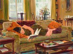 Leitora no sofá, s/d, David Hettinger (EUA, 1946), óleo sobre tela.