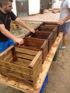Make storage crates using pallets! No sense in spending $ when you can make them for free!