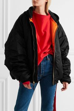 Black and bright-orange shell, black cotton-blend jersey Zip fastening through front Fabric1: 100% nylon; fabric2: 75% cotton, 25% polyester; filling: 100% polyester Dry clean