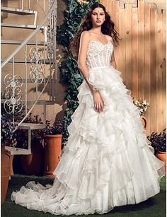 Princess Sweetheart Natural Floor-length Sleeveless Zipper Tulle Garden/Outdoor Wedding Dress #169715(More color option)