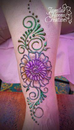 flower glitter henna www.jamilahhennacreations.com