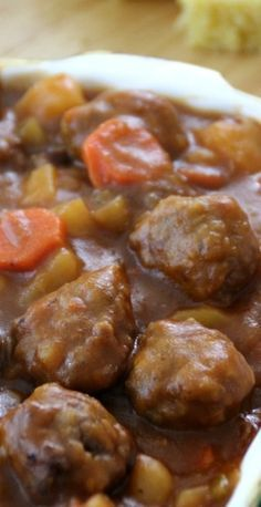 Rustic Meatball Stew! Mmm soooo tasty! Hearty, comfy goodness in a bowl! Time to get some rolls and butter out :)