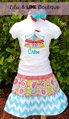 Circus Themed Birthday Shirt and Coordinating by LilacAndLime, $60.00