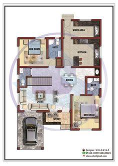 1365 Square Feet Single Floor Contemporary Home Design Duplex House Plans, House Layout Plans, Duplex House Design, House Design Photos, Small House Design, House Layouts, 1200 Sq Ft House, Free House Plans, Home Design Floor Plans