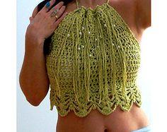 Amelie cropped crochet halter top-Fringe beaded cropped tank -Bohemian apple green top-Women elegant crochet top-Festival fringe cropped top