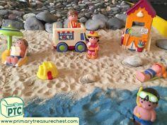 Super Seaside At the Beach Tuff Tray Small World Scene -EYFS Children Teaching Activities, Teaching Resources, Activities For Kids, Teaching Ideas, Seaside Shops, Eyfs Classroom, Key Stage 1, Tuff Tray, Seaside Holidays