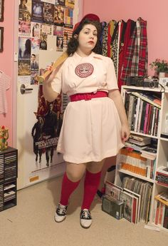 "I really like this homemade version of the women's baseball uniforms from ""A League of Their Own"" a lot more than the ones they are selling for $75."