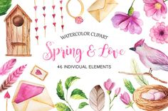 Watercolor Spring&Love Set by Larysa Zabrotskaya | TheHungryJPEG.com