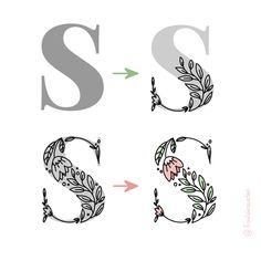 The easiest way to get this flowery serif style is use the App Over to type your export the png-file to draw the flowers on a new deactivate the original Hand Lettering Fonts, Lettering Tutorial, Typography Letters, Lettering Design, Calligraphy Tutorial, Caligraphy Alphabet, Graphic Design Tips, Graphic Design Inspiration, App Design