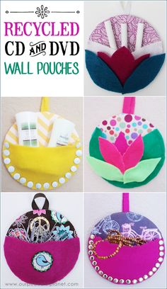 Recycle CDs and DVDs into these useful and pretty wall pouches! They're also a great way to use up scraps of fabric and have a multitude of fun uses. mit cds kinder weihnachten Recycle CDs into Wall Pouches Crafts With Cds, Recycled Cd Crafts, Old Cd Crafts, Crafts For Teens, Crafts To Make, Recycled Tires, Recycled Glass, Cd Recycle, Cd Diy