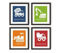 Construction Truck Wall Art, Little Boys Room, Construction Nursery, Cement Mixer, Excavator, Bulldozer, Dump Truck, Playroom Wall Art by twowhiteowls on Etsy https://www.etsy.com/listing/267493117/construction-truck-wall-art-little-boys