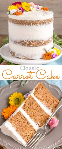 This classic Carrot Cake is one you'll want to add to your recipe collection! A moist and delicious cake paired with a not-too-sweet cream cheese frosting. | livforcake.com