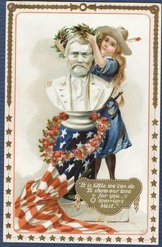 Bust of Ulysses S. Grant Vintage Memorial Day Postcard