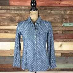 """J. Crew Chambray Polka Dot Popover Shirt J. Crew Chambray Polka Dot Popover Shirt  B: 18.5"""" / L: 25""""  #woodsnap #jcrew #blouse #popover #casual #chic #layering J. Crew Tops Button Down Shirts"""