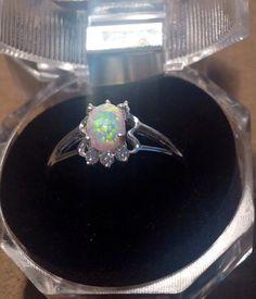 white fire opal size 8 ring by Rossanascorner on Etsy, $29.90