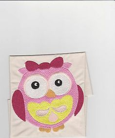 Girls Wide-eyed embroidered baby owl quilt block