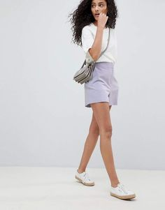 lilac tailored a-line shorts, latest fashion trends for women what to wear:lilac