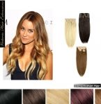 """22"""" (55cm) long DOUBLE WEFTED 155g. Full Head Clip In Human Hair Extensions"""