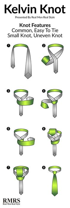 Do you know how to tie a Kelvin Knot? Real Men Real Style has an infographic and step by step instructions to make tying Kelvin knots simple. Tie A Necktie, Necktie Knots, Real Men Real Style, Windsor Knot, Style Masculin, The Knot, Tie Styles, Dress Styles, Men Style Tips