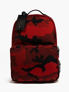 Valentino Men's Red Camouflage Canvas Backpack