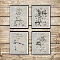 Firefighter Wall Art Patent Print Group Firefighter Art
